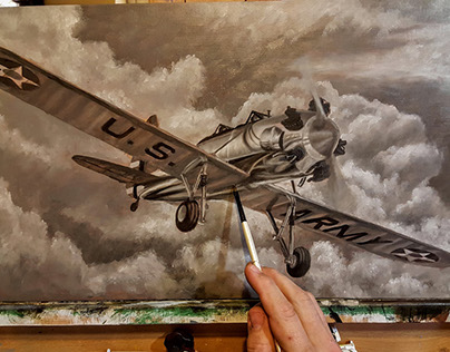 PT-22 Ryan Recruit Oil Painting Work-in-Progress