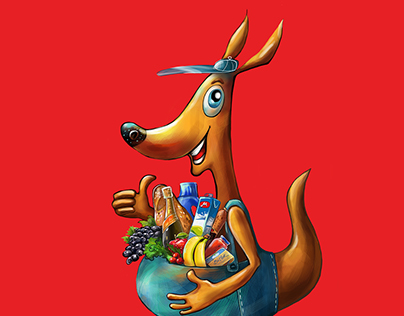 Kangaroo illustrations for online supermarket