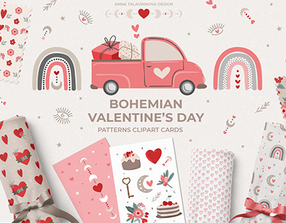 Bohemian Valentine's day clipart & pattern collection