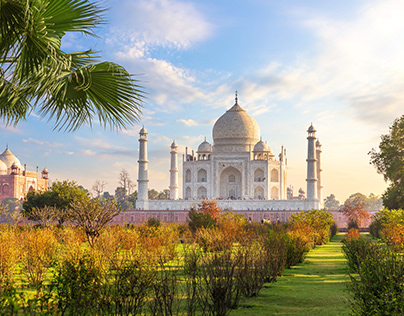 Beautiful Taj Mahal in the garden, India, Agra