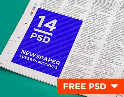 14 Newspaper Adsverts Mockups (FREE PSD)