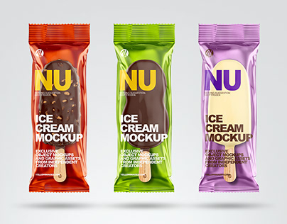 7 Ice Cream Bars PSD Mockups