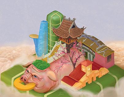 Vietnamese Tet Holiday 2019 - Year of Pig
