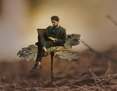 Man on leaf