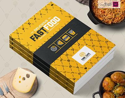 Bi-Fold Brochure Design Template for Fast Food