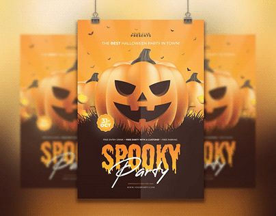 50+ Scary Happy Halloween Posters, Flyers and Invitatio