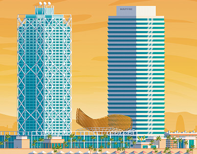 Barcelona Spain Retro Travel Poster City Illustration