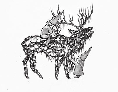 Fairytale themed inktober illustrations 2019