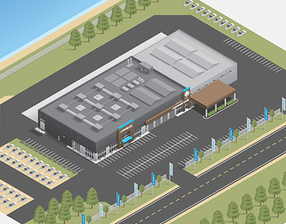 Legend Headquarters Isometric Illustration