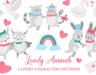 Lovely Animals. Cute animal couples. Valentine clipart