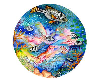 Great Barrier Reef Watercolour - Ocean Life