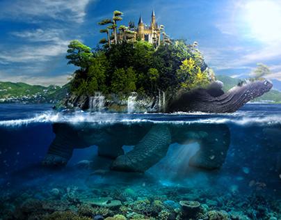 Fantasy turtle at sea!