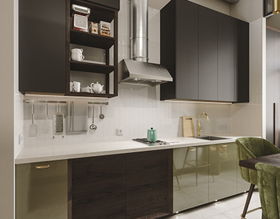 High-Gloss green kitchen