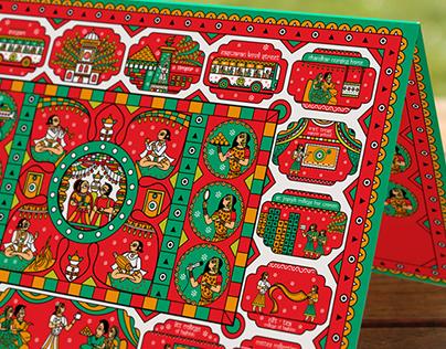 Indian Wedding Card in Phad Painting, Indian Folk Art