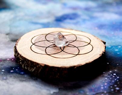 Wood Burned Crystal Grid