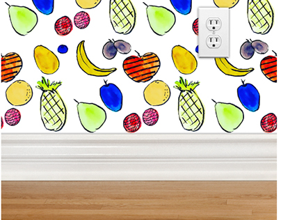 Fruit print for wall paper and soft goods