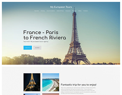 My European Tours - landing page for a Travel Agency