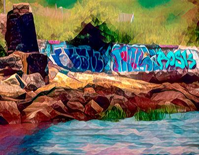 GRAFFITI AT SEA SHORE
