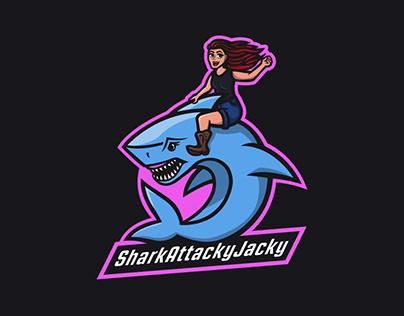 SharkAttackyJacky Mascot Logo