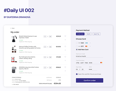 Daily UI - #002 - Credit Card Checkout