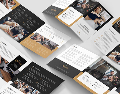 Barber Shop – Brochures Bundle Print Templates 5 in 1