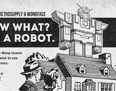 House + Giant Robot Illustration