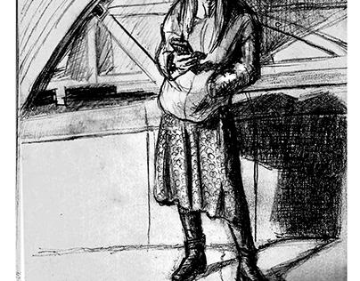 девушка на ж.д. станции
