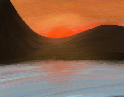 Mountain Sunset - Digital Painting