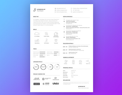 Jayadevan Visual Designer Resume