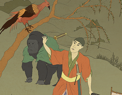 Momotaro Tale Illustrations For Japan Exhibition