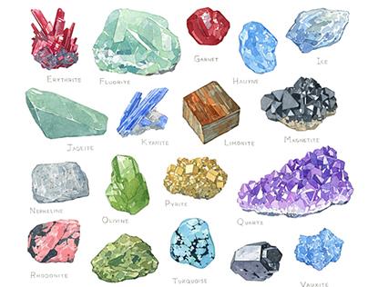 Minerals Alphabet Watercolor Illustration