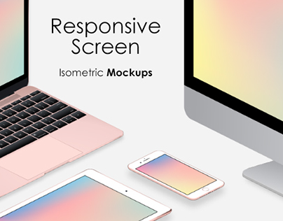 Responsive Screen Isometric Mockups
