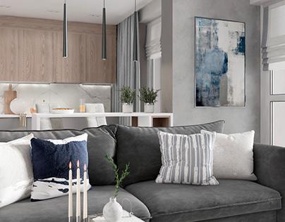Interior design kitchen living room in Minsk 24 m2