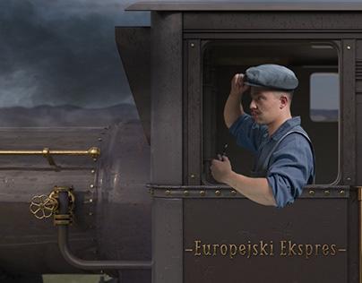 Animacja 3D pociągu