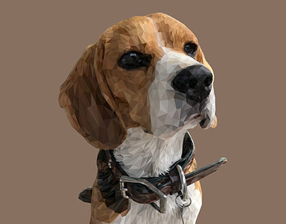 Beagle low-poly / polygonal digital art