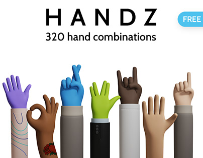 HANDZ - Free 3D illustration library