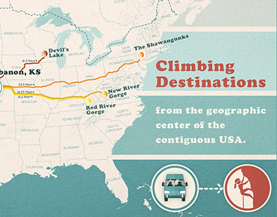 Rock Climbing Destinations Map - Cartography project