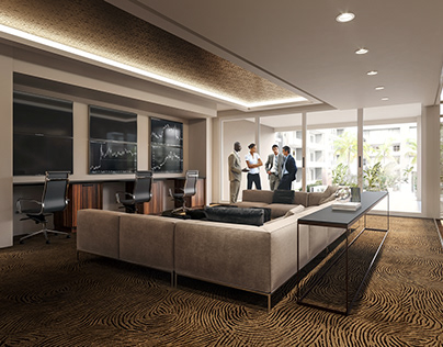 3D interior rendering of a business lounge space