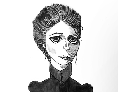 A caricature of Violet Oakley the illustrator