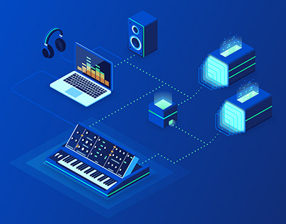 Music Production - Isometric Landing Page