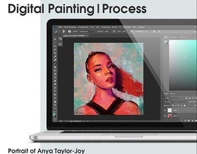 Digital Painting|Process. Portrait of Anya Taylor-Joy