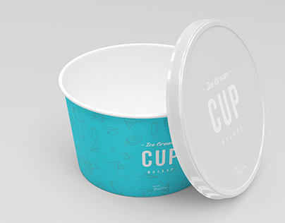 8oz Ice Cream Cup Mockup Set