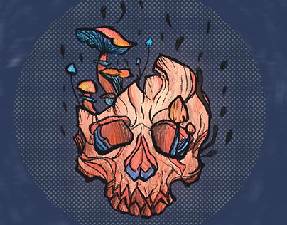 Skull and shrooms.