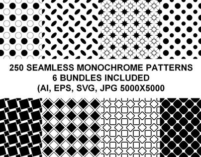 250 Seamless Monochrome Patterns