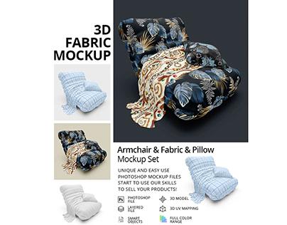 Armchair & Fabric & Pillow Mockup