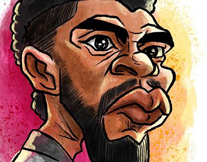 Black Panther Chadwick Boseman caricature