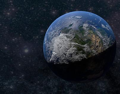 Dünya modeli Cinema 4D cycles render