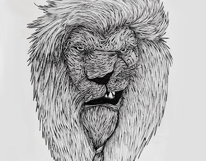 Lion Angry face surreal thread concept art