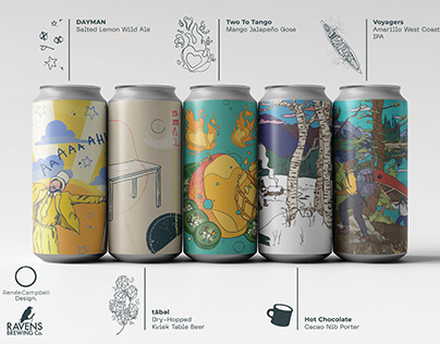 Raven's Brewing: Can Label Illustration + Design