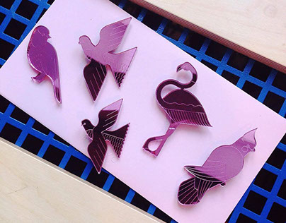 'Pink Tropical Birds' brooches